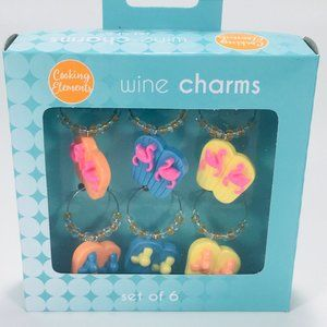 Cooking Elements Flip Flop Wine Charm Set of 6 NEW